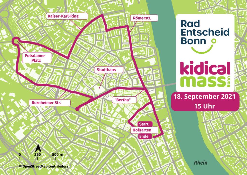 Eine Karte Bonns mit der Darstellung der Route der Kidical Mass. Start ist der Hofgarten, es geht über den Bertha, Stadthaus, Bornheimer Straße, Potsdamer Platz (Verteilerkreis), den Kaiser-Karl-Ring und die Römerstraße zurück zum Hofgarten.