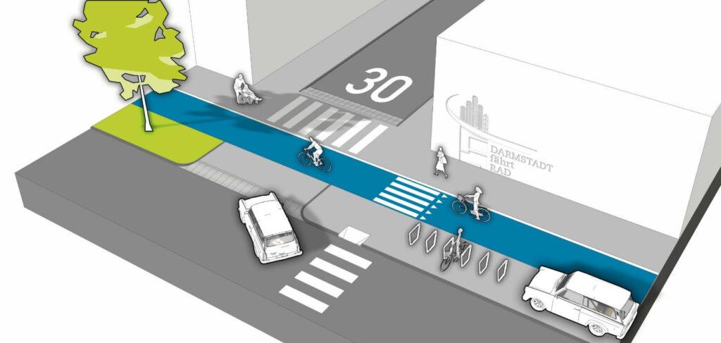Die Graifk zeigt einen niveaugleichen Radweg neben einem niveaugleichen Gehweg. Autos, die in die Seitenstraße einbiegen wollen, müssen eine geringe Steigung auffahren